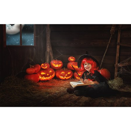 GreenDecor Polyster 7x5ft photography backdrop background spooky scary halloween night moon Pumpkins bats farm kids girl boys party props photo studio booth