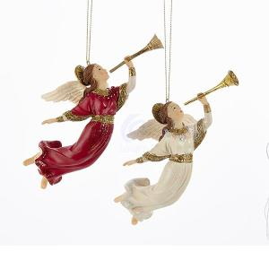 2 Assorted Religious Angels with Trumpets Christmas Ornament