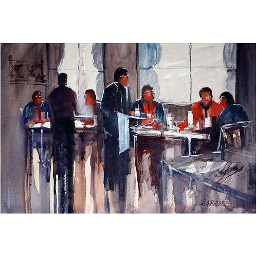 "Trademark Art ""Business Lunch"" Canvas Art by Ryan Radke"