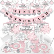 Pink Winter Wonderland - Holiday Snowflake Birthday Party and Baby Shower Supplies - Banner Decoration Kit - Fundle Bundle