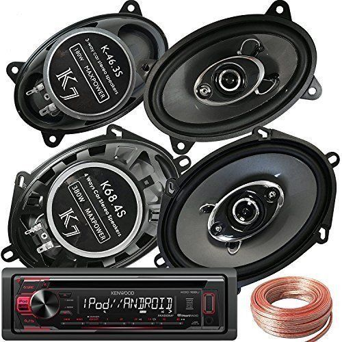 "Kenwood KDC-168U +Pair K68.4S 6""x8""/5""x7"" 380W +K-46.3S 4x6"" 180W Speakers +Wire"