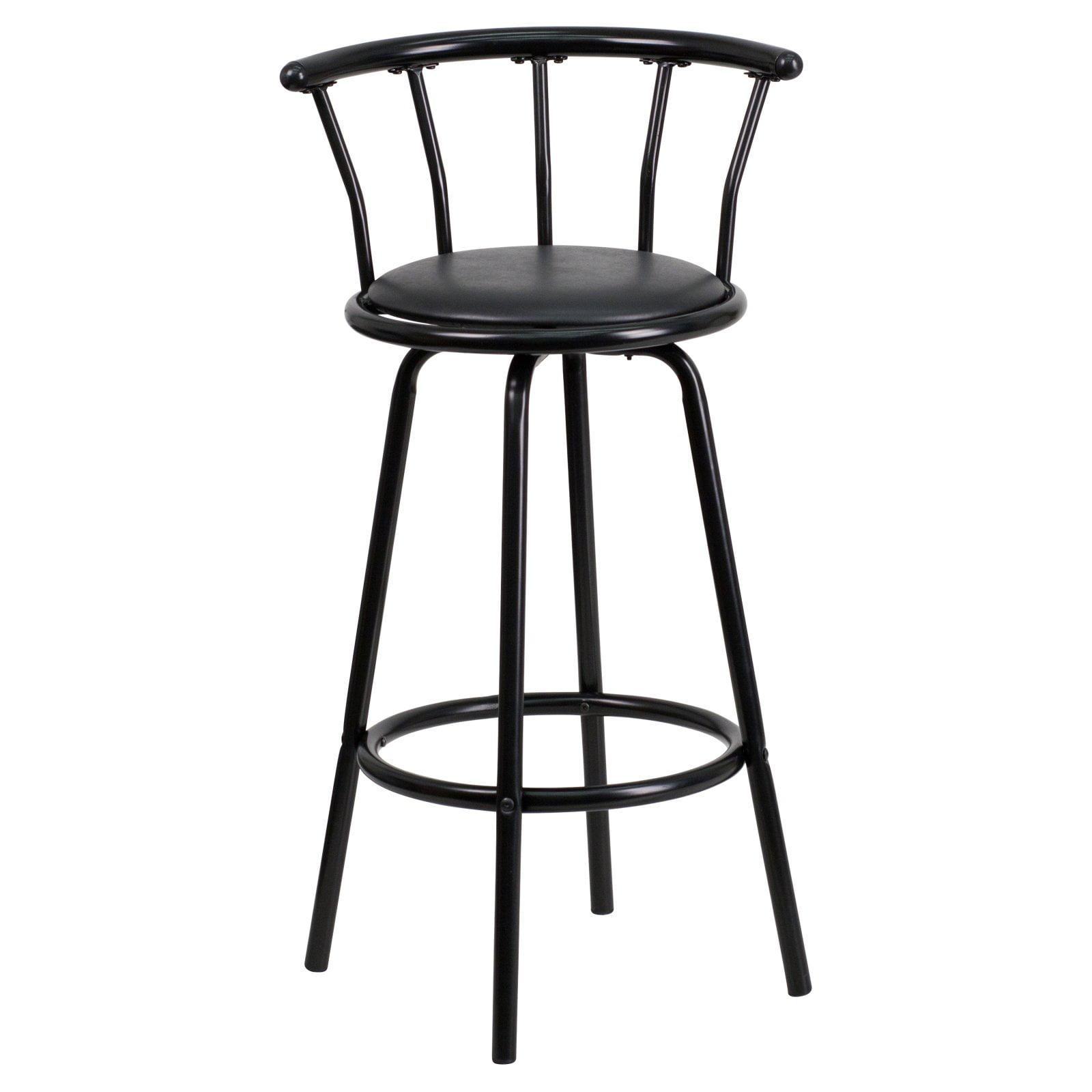 Set Of 4 Metal Black Swivel Vinyl Seat Pub Bar Stools: Bar Stool Indoor Swivel Seat Pub Bar Stools Chairs Black