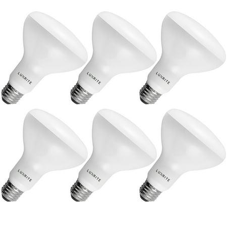6 Pack BR30 LED Bulb Luxrite 65W Equivalent 4000K Cool White