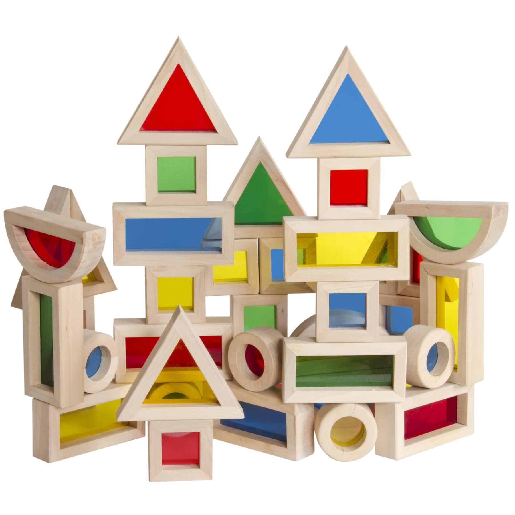 Guidecraft Jr Rainbow Block Set, 40pc by Guidecraft