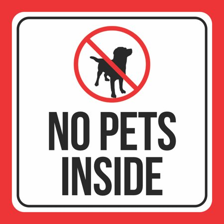 aluminum no pets inside print dog picture black white red public