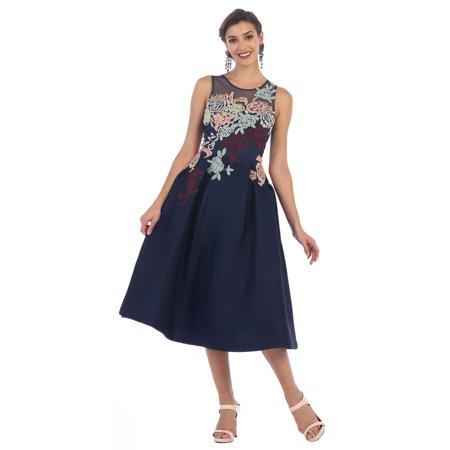 Royal Queen Semi Formal Tea Length Floral Dress Walmart