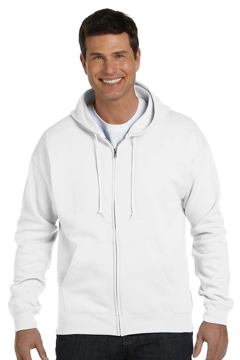 Hanes P180 ComfortBlend Men's Full-Zip Hoodie - White - Small