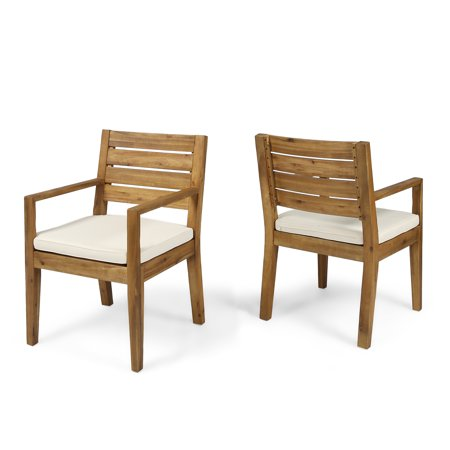 Wondrous Arely Outdoor Acacia Wood Dining Chairs Set Of 2 Sandblast Natural And Cream Lamtechconsult Wood Chair Design Ideas Lamtechconsultcom