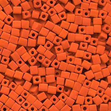 - 20 Grams Opaque Frosted Orange Miyuki 4mm Square Cube Glass Seed, Loose Beads,