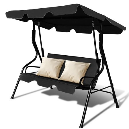 Costway 3 Seats Patio Canopy Swing Glider Hammock Cushioned Steel Frame Backyar Black