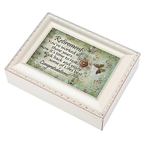 Retirement Congratulations Ivory Finish Jewelry Music Box Plays Tune Ave Maria
