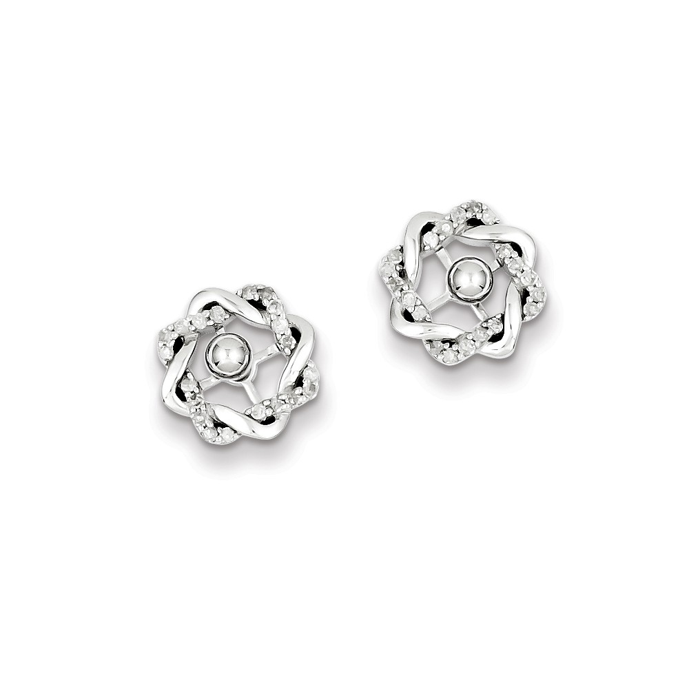 Sterling Silver Rhodium Plated Dia Earrings Jackets w/ Studs. Carat Wt- 0.18ct (0.4IN x 0.4IN )