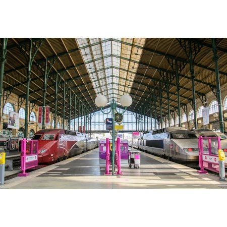 Peel-n-Stick Poster of Paris Trains Railway Station France Train Poster 24x16 Adhesive Sticker Poster Print