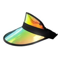 Tennis Beach Iridescent Mirrored Plastic Sun Visor Hat, One Size