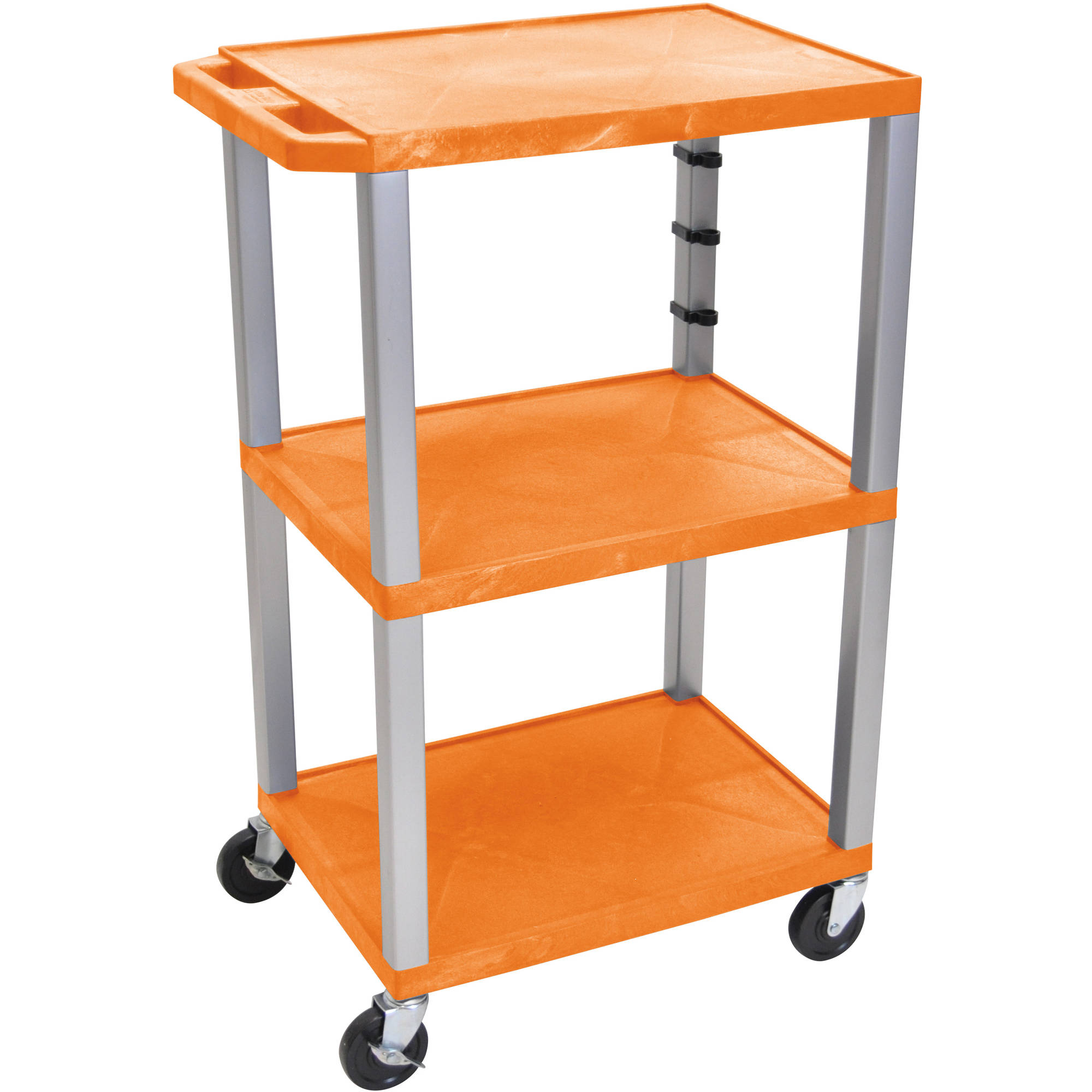 H. Wilson Tuffy 3-Shelf A/V Cart with Electric, Orange Shelves and Nickel Legs