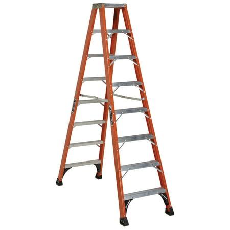 Louisville Ladder FM1408HD 8 ft. Fiberglass Twin Front Step Ladder, Type IAA, 375 lbs Load Capacity