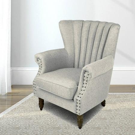 Tufted Arc (Elegant Design Fabric Leg Arm Tufted Club Chair Accent Chairs - Grey)