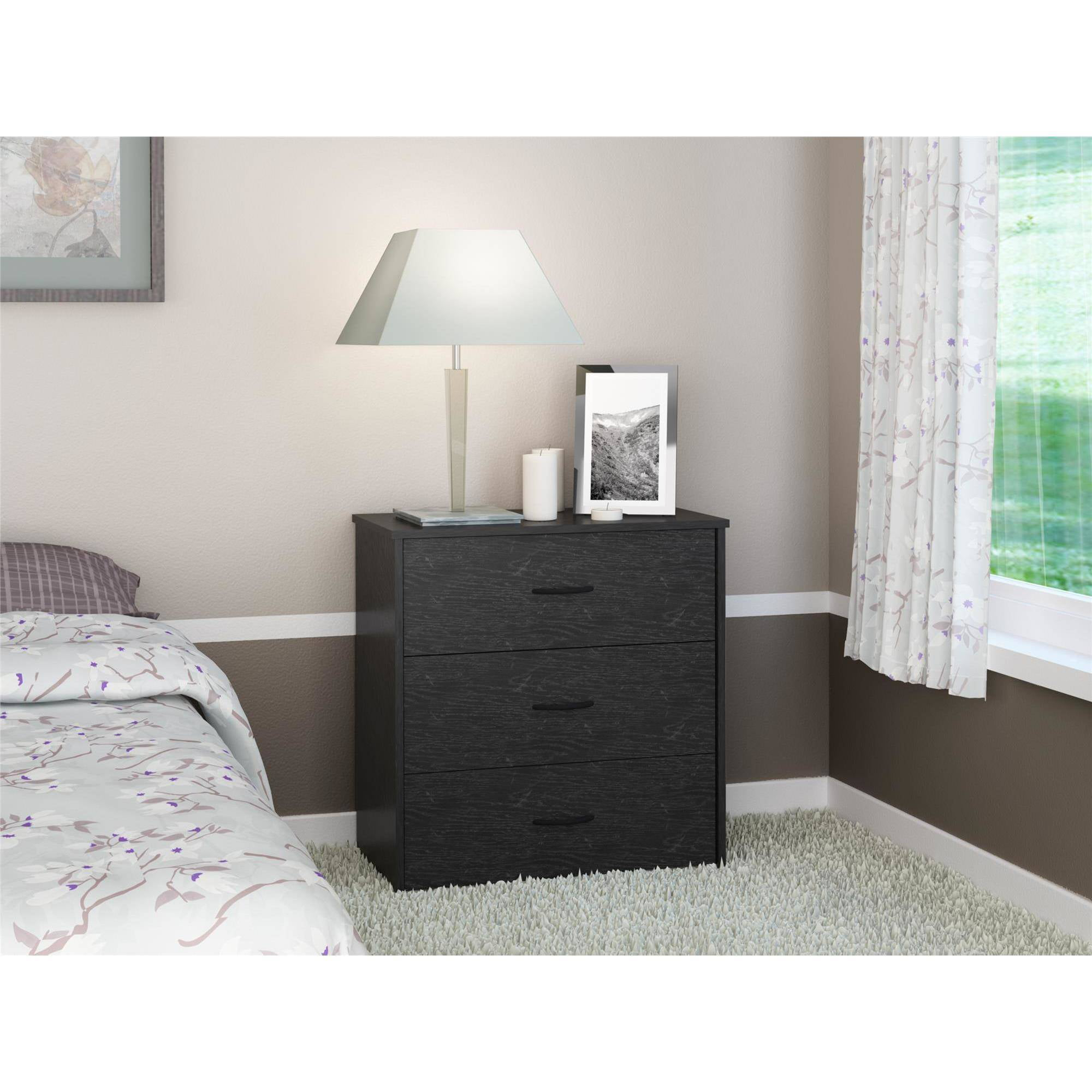 3 Drawer Dresser Chest Bedroom Furniture Black Brown