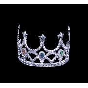 Star Power Queen Shiny Jeweled Tiara Crown, Silver, One Size