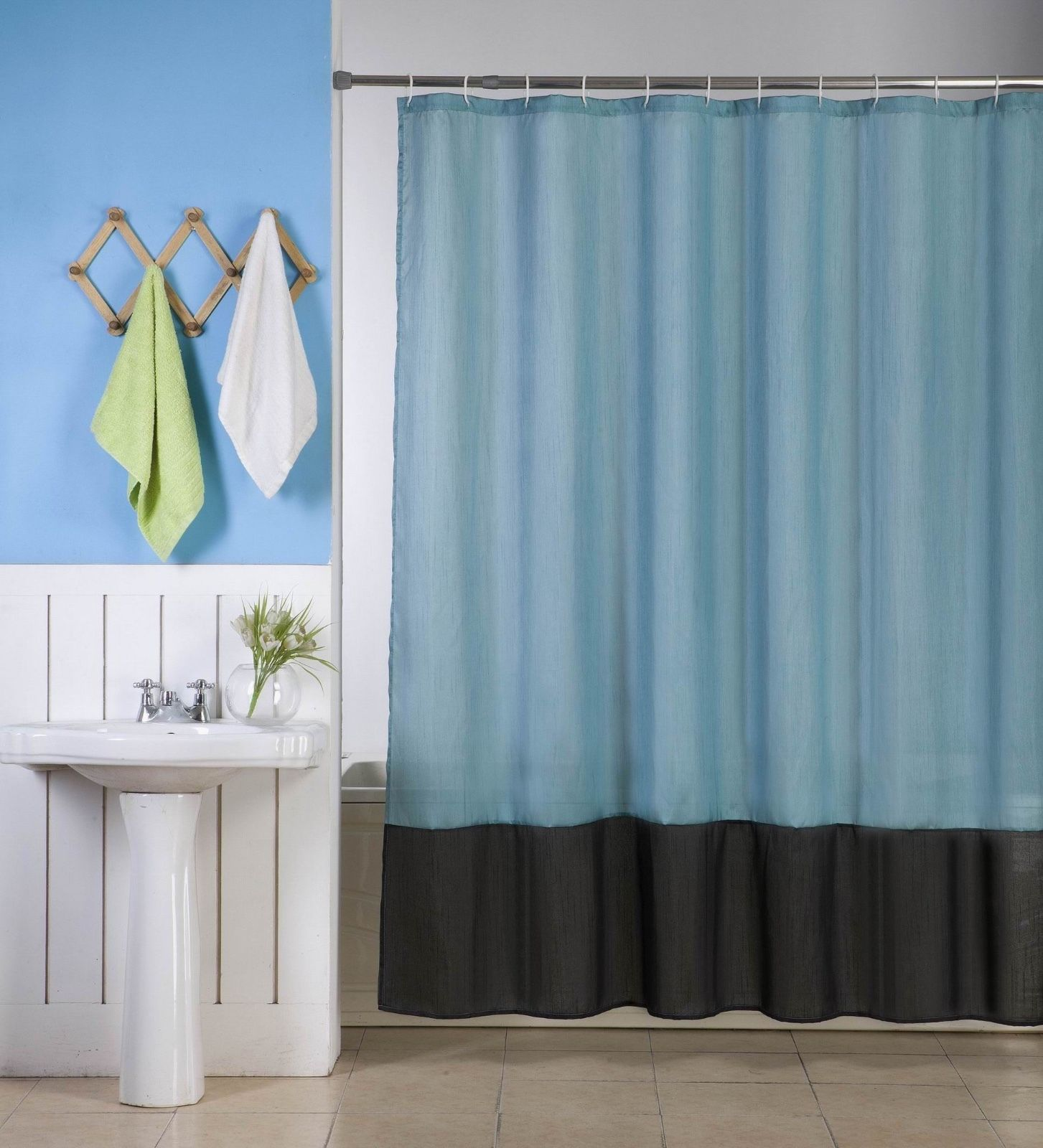 "1PC (H10) TEAL BLACK FAUX SILK 2 SHADES SOLID BATHROOM  BATH FABRIC SHOWER CURTAIN  WATER REPELLENT 72"" X72"""