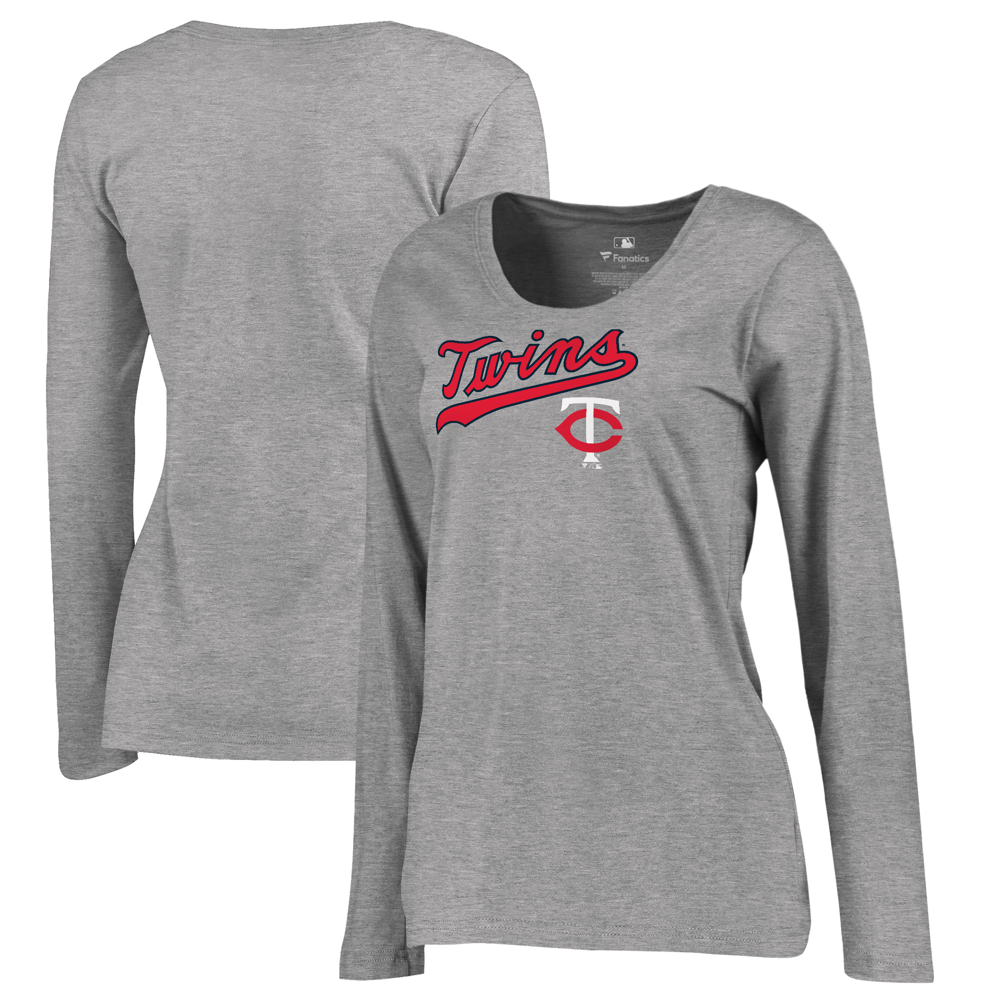 Minnesota Twins Fanatics Branded Women's Plus Size Cooperstown Collection Wahconah Long Sleeve T-Shirt Heathered Gray by Football Fanatics/Ruppshirts