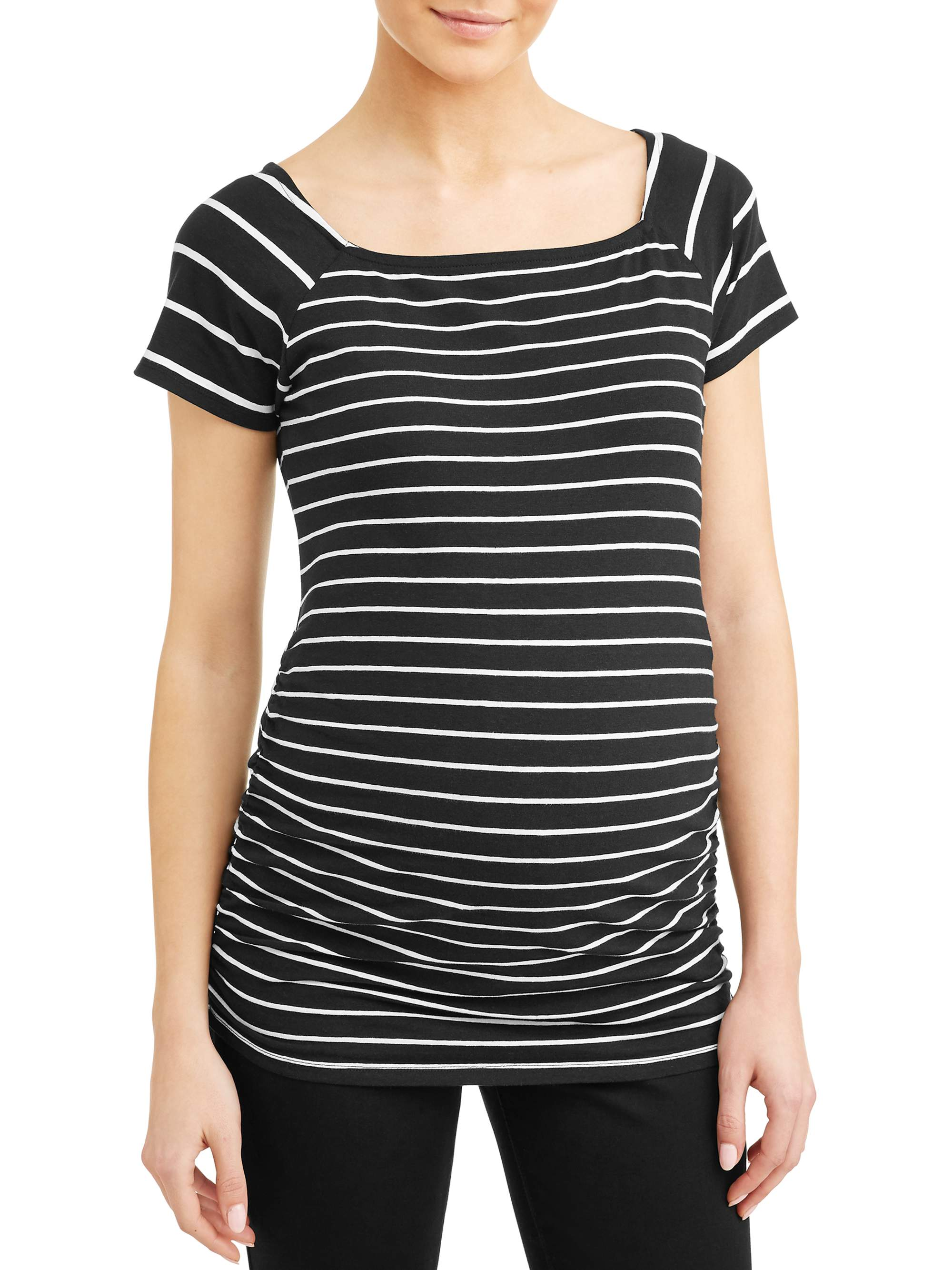 Maternity Stripe Square Neck Side Ruched Knit Top - Available in Plus Sizes