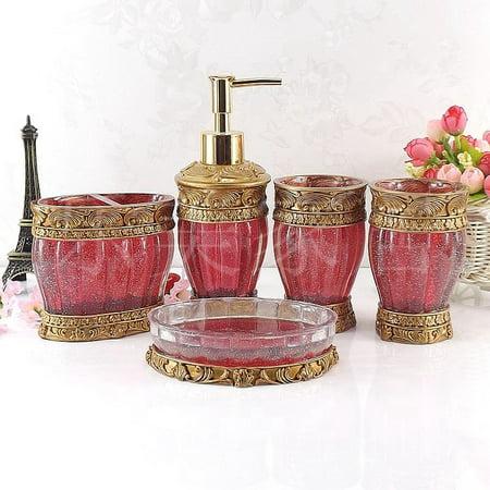 Paris red 5pcs sets bathroom accessories modern accessory for Modern bathroom accessories set