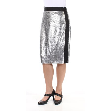 BAR III Womens Silver Sequined Knee Length Pencil Party Skirt  Size: 8