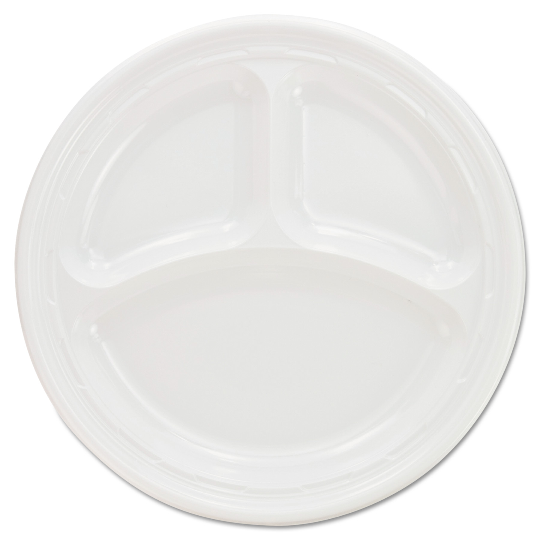 Dart Plastic Plates 9 Inches White 3 Compartments Round 125/  sc 1 st  Walmart.com & Dart Plastic Plates 9 Inches White 3 Compartments Round 125 ...