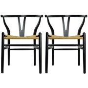 2xhome Set of 2 (Two) Black Wishbone Wood Armchair Armchair Modern Dark Black with Natural Woven Seat Dining Room Chair by 2xhome