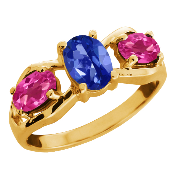 2.05 Ct Oval Blue Sapphire Mystic Topaz Yellow Gold Plated Sterling Silver Ring