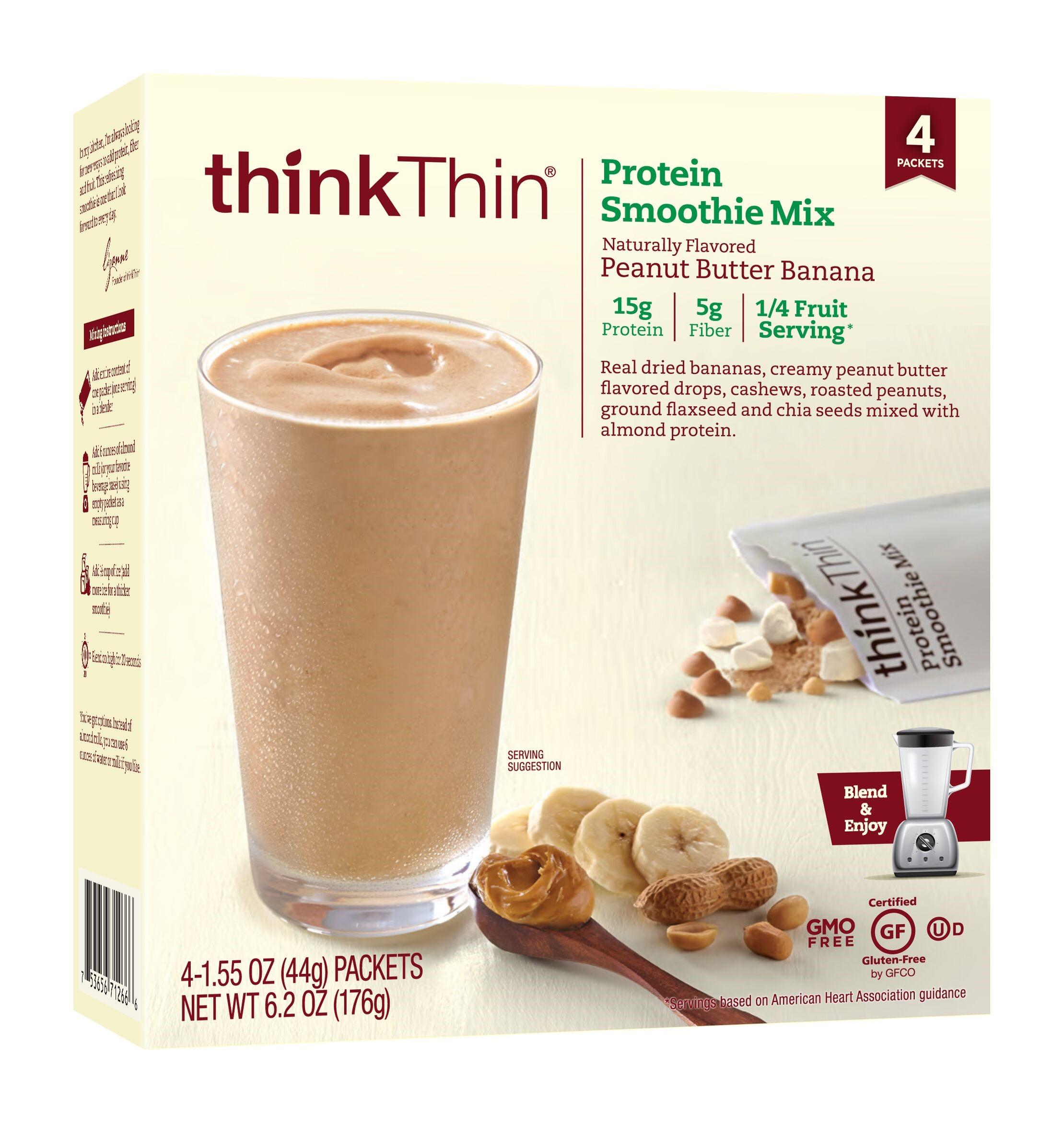 thinkThin Protein Smoothie Mix, Peanut Butter Banana, 1.55 Oz, 4 Ct