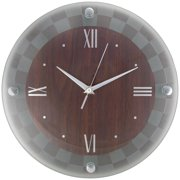 """Timekeeper 6986D 12"""" Round Wall Clock With Sand-blasted Glass Floating Dial (checkerboard)"""