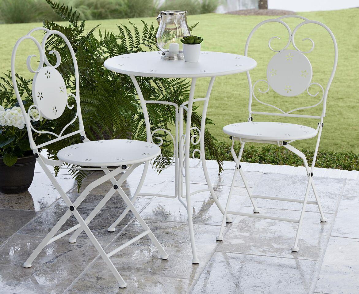 COSCO Outdoor Living 3 Piece Small Space Outdoor Bistro Set, White