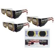 Solar Eclipse Glasses - 3 Pairs Sleeved - AMERICAN FLAG -ISO Certified, CE Approved- Sleeved - Solar Shades