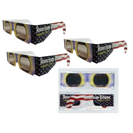 Solar Eclipse Glasses - 3 Pairs Sleeved - AMERICAN FLAG -ISO Certified, CE Approved- Sleeved - Solar