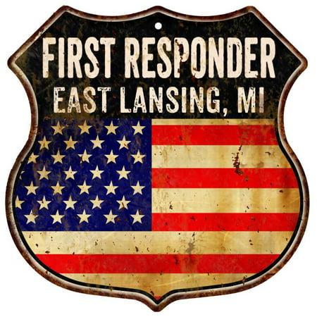 EAST LANSING, MI First Responder American Flag 12x12 Metal Shield Sign S123070 ()