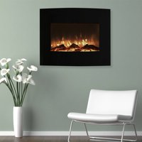 """Northwest 25"""" Mini Curved Black Electric Indoor Fireplace with Wall and Floor Mount"""