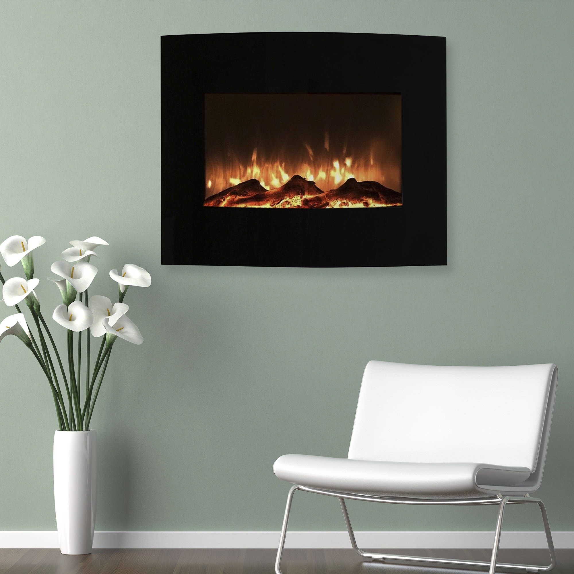 "Northwest 25"" Mini Curved Black Electric Indoor Fireplace with Wall and Floor Mount"