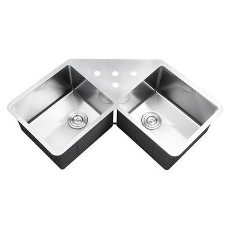 Ruvati Gravena 43.75'' x 23'' Undermount Corner Double Bowl Kitchen Sink