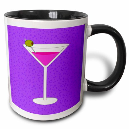 3dRose Bright Pink Martini in Glass with Olive - Purple Background - Two Tone Black Mug, 11-ounce