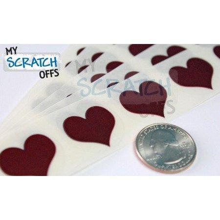 Red 1 Heart Scratch Off Labels - 5,000 Labels (Scratch Heart)