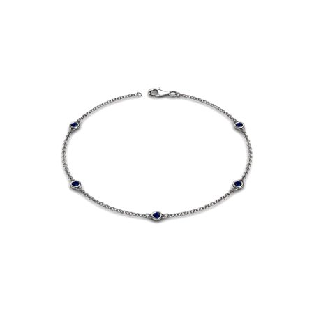 Petite Blue Sapphire 5 Station Bracelet 0.26 cttw in 14K White Gold ()