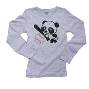 Panda Baseball - Cute Happy Sports Panda Bear Women's Long Sleeve Grey T-Shirt