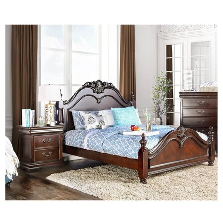 Furniture of America Bastillina Traditional Cherry 2-piece Poster Bedroom Set ()