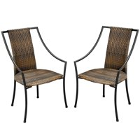 Home Styles Laguna Outdoor Dining Chairs, Powder-coated Steel set of 2, Black/Taupe