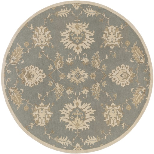 4' Bethany Slate Gray and Taupe Round Hand Tufted Wool Area Throw Rug