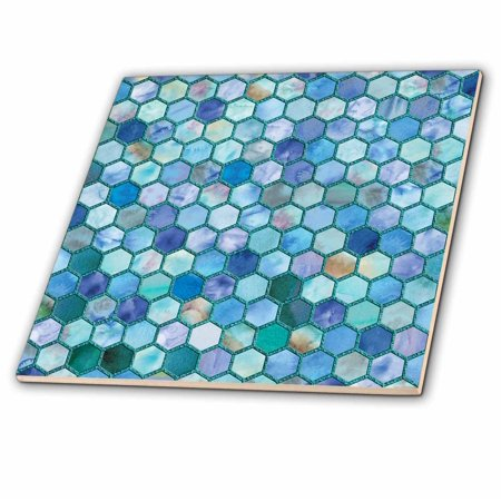3dRose Trendy Blue Sea Feminine Faux Glitter Honeycomb Hexagon Pattern - Ceramic Tile, 6-inch