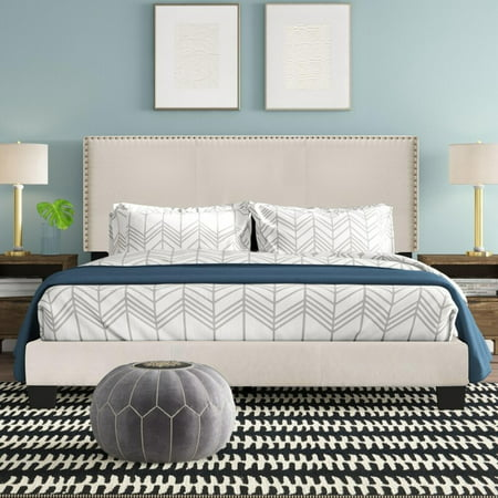 Royale Upholstered Platform Bed with Nail Trim Headboard, King