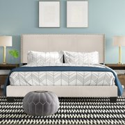 Royale Upholstered Platform Bed with Nail Trim Headboard